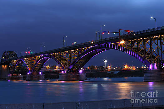 Peace Bridge with purple and gold lights by Kim French