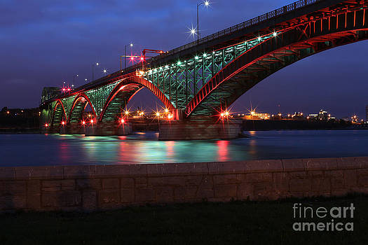 Peace Bridge with Red and Green Lights by Kim French