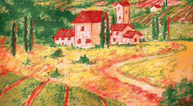Anne-Elizabeth Whiteway - Peaceful and Colorful Tuscany Valley Scene