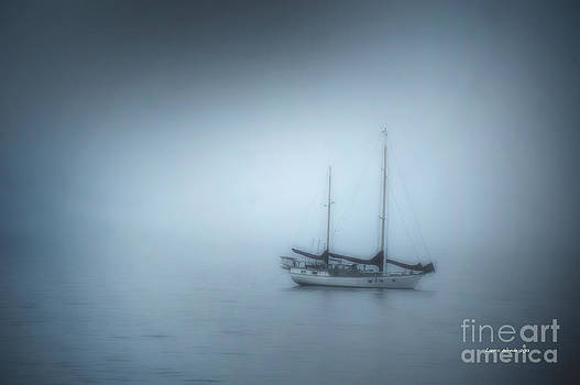 Artist and Photographer Laura Wrede - Peaceful Sailboat on a Foggy Morning from the book MY OCEAN