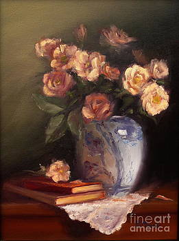 Peach Roses and Books by Viktoria K Majestic