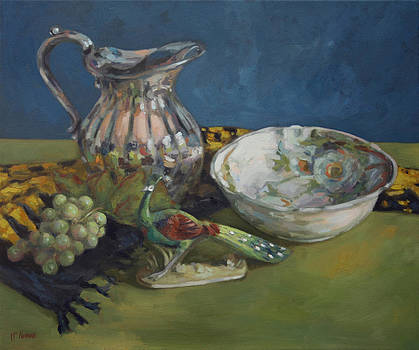Peacock and a Rose Bowl by William Noonan