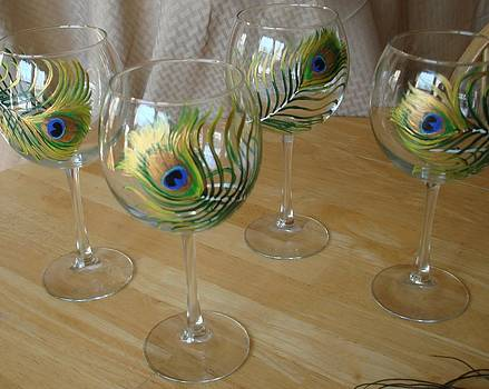Peacock Feathers on Wineglasses by Sarah Grangier