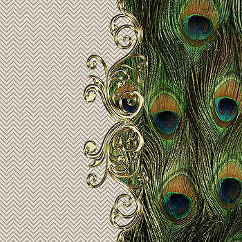Peacock Golden Ornament Chevron Pattern  by Costinel Floricel