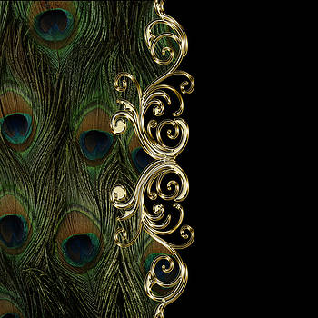 Peacock Golden Ornament on Black  by Costinel Floricel