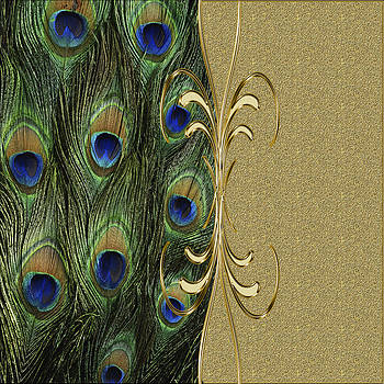 Peacock Golden Ornament on Golden Background by Costinel Floricel