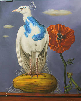 Leah Saulnier The Painting Maniac - Peacock On A Papaya