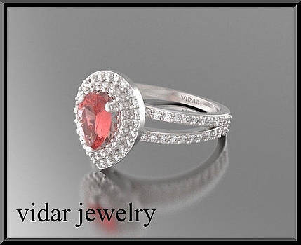 Pear Red Ruby And Diamond Double Halo 14k White Gold Engagement Ring by Roi Avidar