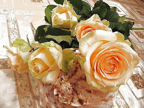 Pearl Roses by Halyna  Yarova