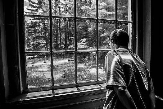Karol Livote - Peering Out The Window BW