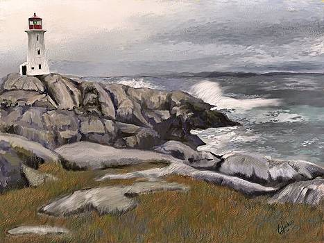 Peggys Cove Light 3 by Edith Hicks