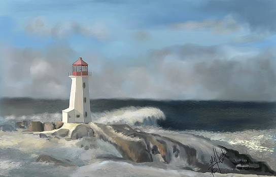 Peggys Cove Light Feb 2015 by Edith Hicks