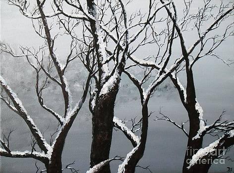 Peinture acrylique paysage sous la neige by Danse DesSonges