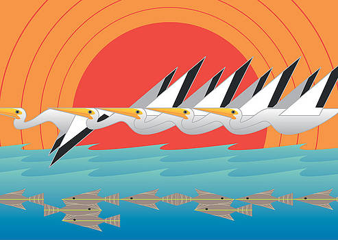 Pelicans by Marie Sansone