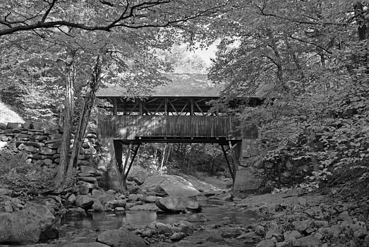 Pemigewasset River Bridge - Black and White by Kristen Mohr
