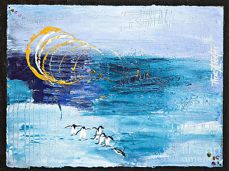 Penguins Abstract by Tracy L Teeter