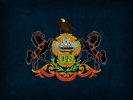 Design Turnpike - Pennsylvania State Flag Art on Worn Canvas