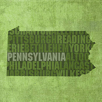 Design Turnpike - Pennsylvania Word Art State Map on Canvas