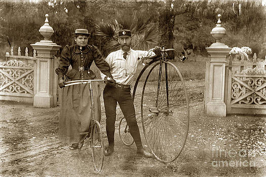 California Views Archives Mr Pat Hathaway Archives - Penny-farthing high wheel at Hotel Del Monte Monterey California circa 1890