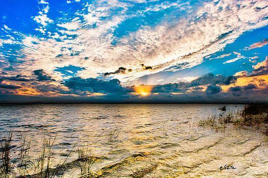 Pensacola Bay Florida-Golden Sun Rays Glorious Sunset Light by Eszra Tanner