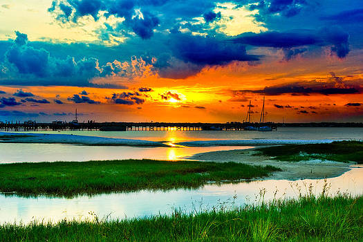 Pensacola Florida Harbor-Radiant Red Sunset-Green Grass by Eszra Tanner
