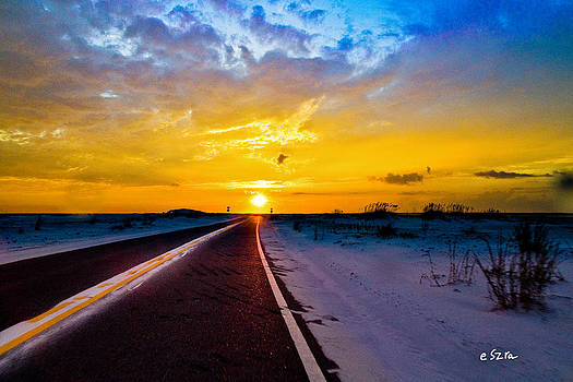 Pensacola Navarre Florida National Sea Shore-Driving Into Sunset by Eszra Tanner