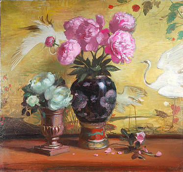 Peonies and Japanese Screen by Keith Gunderson