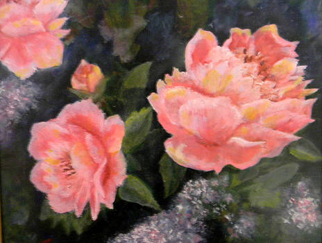 Peonies and Lilacs by Judie White