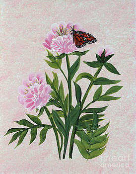 Barbara Griffin - Peonies and Monarch Butterfly