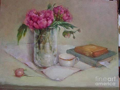 Peonies and Old Books by Kathleen Hoekstra
