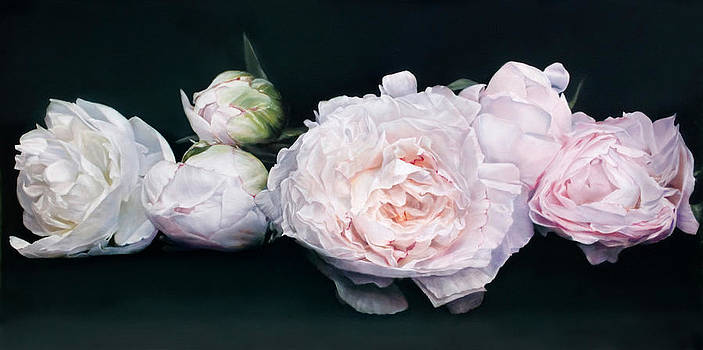 Peonies Caprice 91 x 121cm by Thomas Darnell