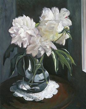 Peonies in a Glass Vase by Mary Gingrich