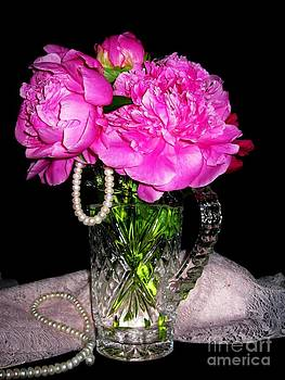 Peonies Pearls Lace and Crystal by Margaret Newcomb