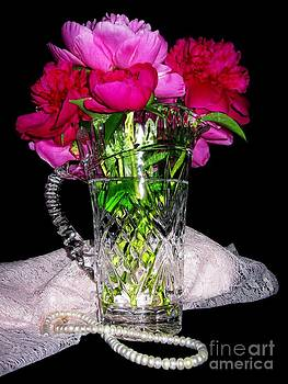 Peonies Pearls Lace Crystal 2 by Margaret Newcomb