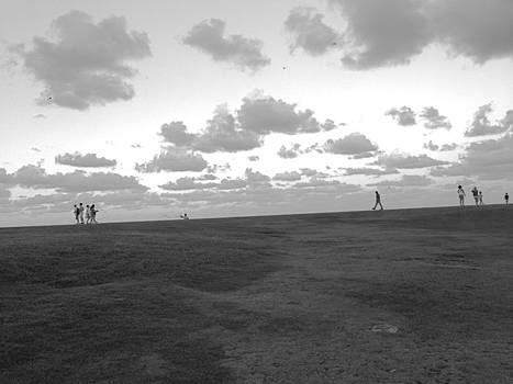 People on the Horizon Black and White by Hannah Rose