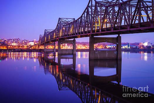 Paul Velgos - Peoria Illinois Bridge at Night - Murray Baker Bridge