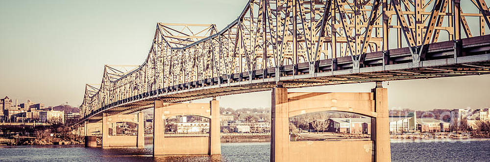 Paul Velgos - Peoria Illinois Bridge Retro Panorama Photo