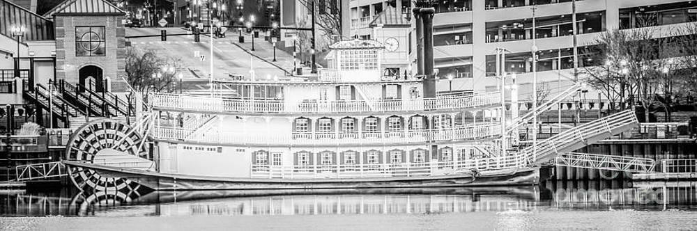Paul Velgos - Peoria Riverboat Panoramic Black and White Photo