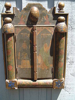 Persian Jewish sacred altar form sheltering a mirror with reverse painting by Anonymous artist