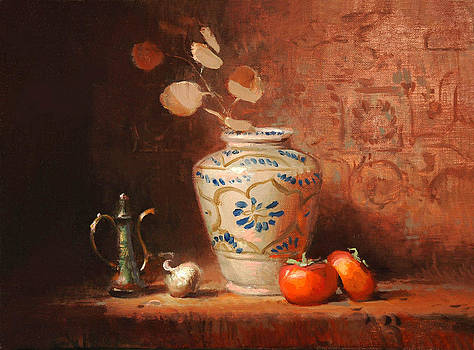Persimmons and Persian Vase by Keith Gunderson