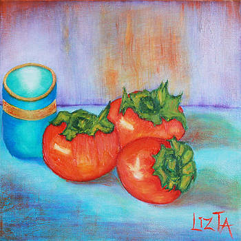 Persimmons on Blue by LizTa Gallery