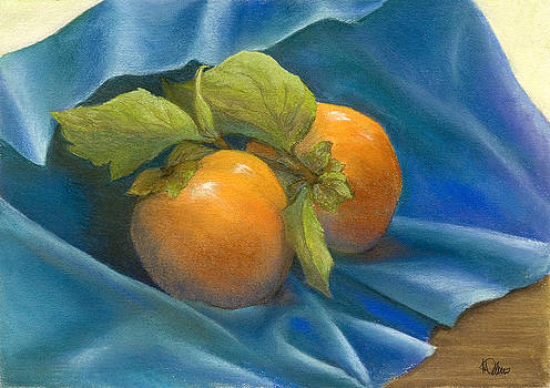 Persimmons on Blue by Martha J Davies