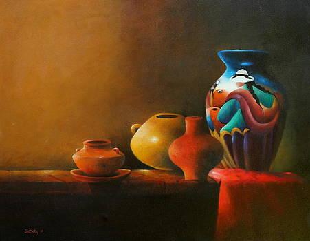 Peruvian hand painted jar clay by Julio Ortiz