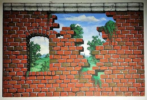 Petit Painting Of Falling Wall by Matt Mercer