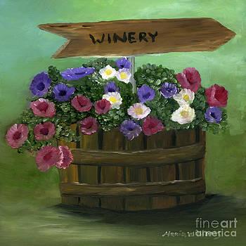 Petunias in a Barrel by Maria Williams
