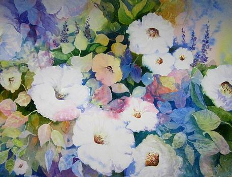 Petunias in White by Marilyn  Clement