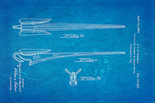 Ian Monk - Phaneuf Hood Ornament Patent Art 1954 Blueprint