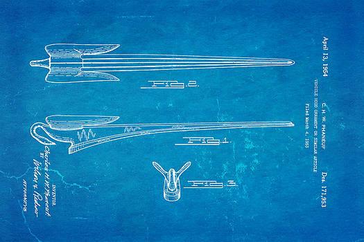 Ian Monk - Phaneuf Hood Ornament Patent Art 1954 Blueprint