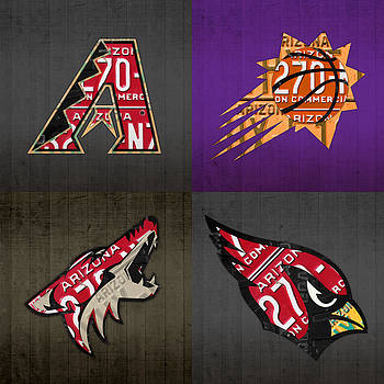 Design Turnpike - Phoenix Sports Fan Recycled Vintage Arizona License Plate Art Diamondbacks Suns Coyotes Cardinals