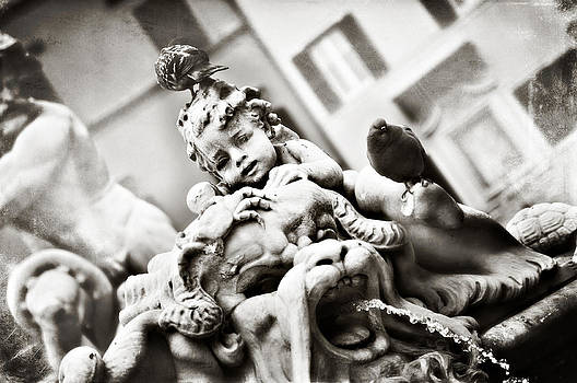 Angela Bonilla - Piazza Navona Black and White Cherub